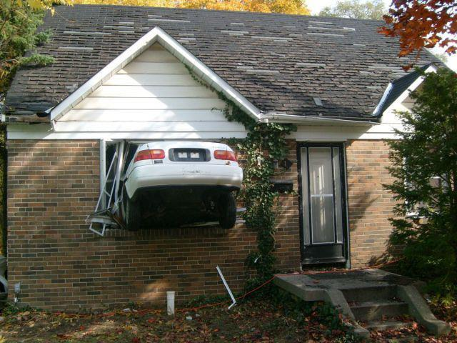 Honda Civic in House Window