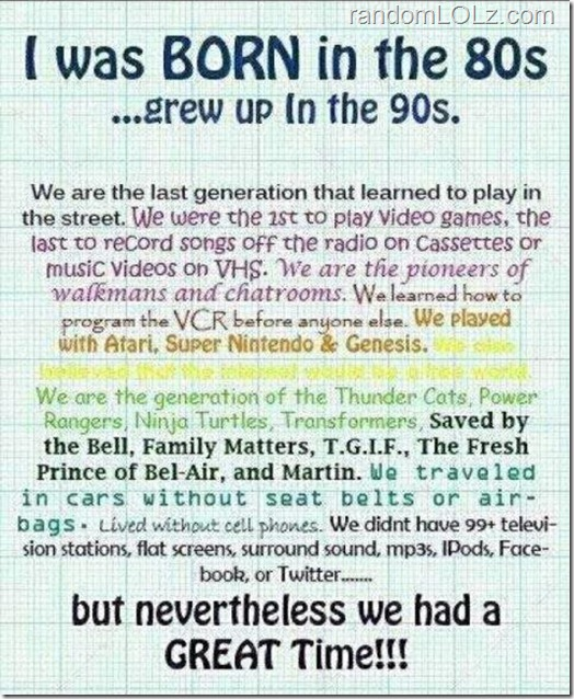 Born in the 80s...Grew up in the 90s