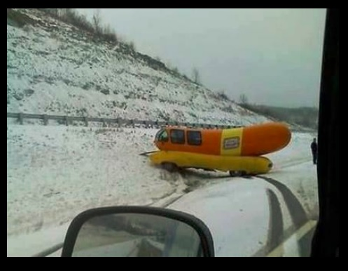 Oscar Mayer Wienermobile Stuck In The Snow on wienermobile snow