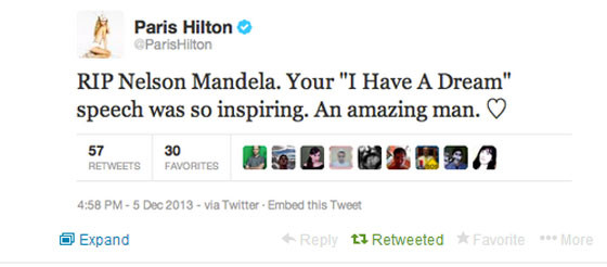 paris hilton nelson mandela fake tweet