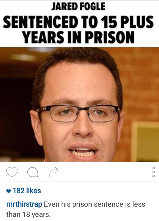 Jared Fogle prison underage