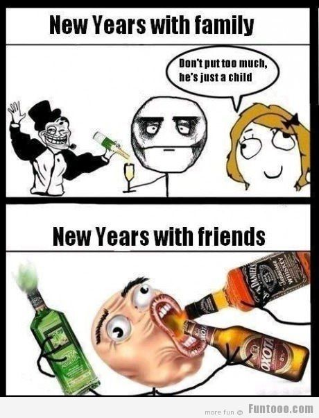 New Year family vs friends