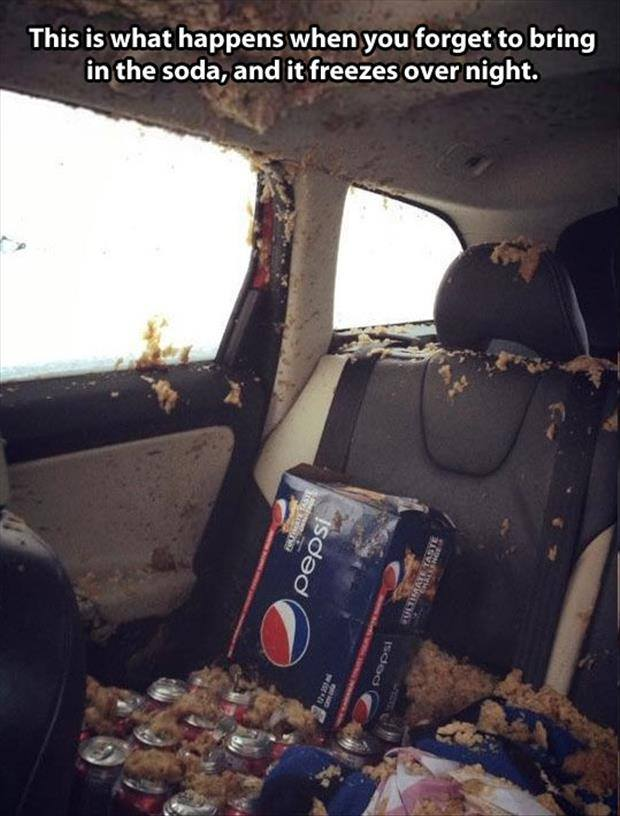 Soda Explodes in Cold Car during Winter
