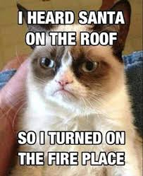 grump cat santa fireplace