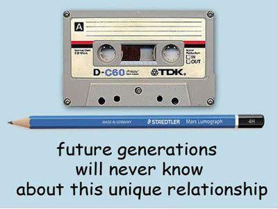 pencil cassette tape