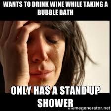 bubble bath shower wine