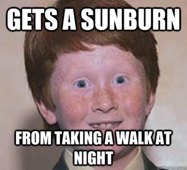 night walk sunburn