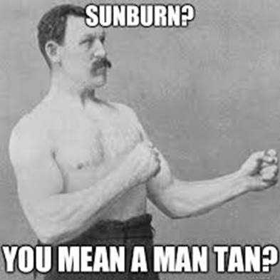 man tan sunburn