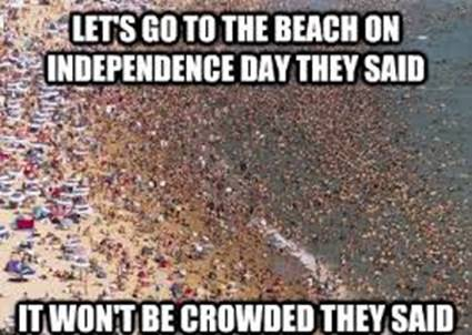 beach is crowded on independence day