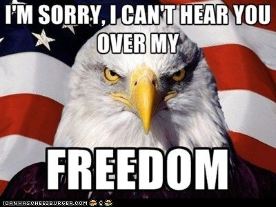cant hear you over my freedom