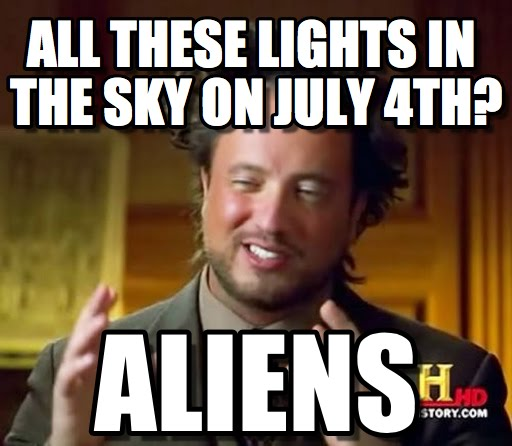 fireworks sky light aliens